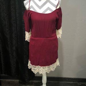 Boutique off shoulder dress with lace detail